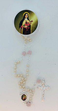 Terço perola branca 4mm Pai Nosso Flor rosa Santa Teresinha (1983)