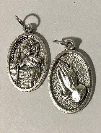 Medalha Italiana São Cristóvão / mãos (8327)