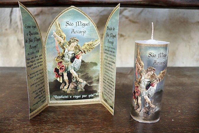 kit 1 - Quaresma de São Miguel: Capelinha de São Miguel + vela de 7 dias de São Miguel