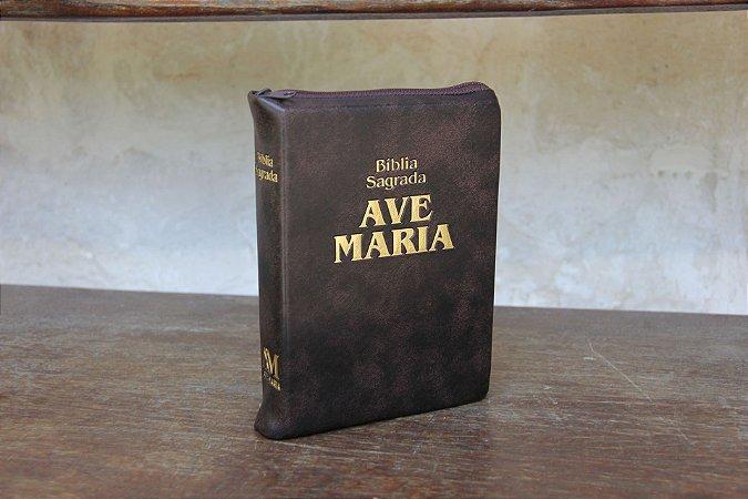 BÍBLIA SAGRADA AVE-MARIA ZÍPER MÉDIA MARROM
