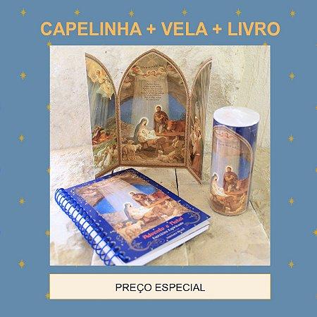 KIT DE NATAL 1 : CAPELINHA DE NATAL + VELA DE 7 DIAS + LIVRO ADVENTO E NATAL