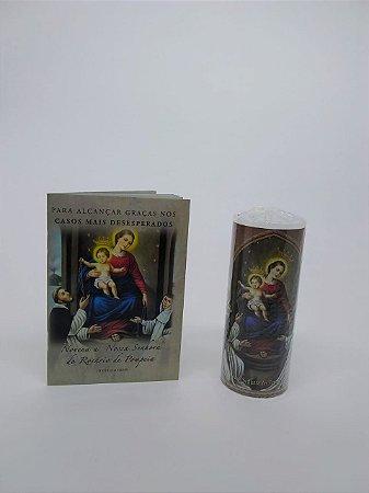 Combo Nossa Senhora da Pompeia: 01 vela de 7 dias / 01 livro novena