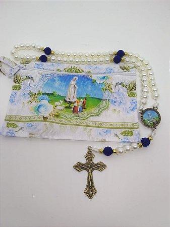 Terço com bolsa de tecido e zíper - nossa senhora de Fátima (8107)