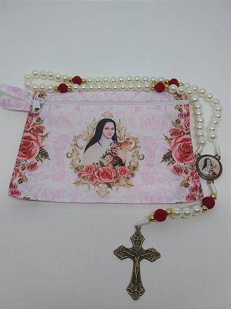 Terço com bolsa de tecido e zíper - santa Teresinha (8104)