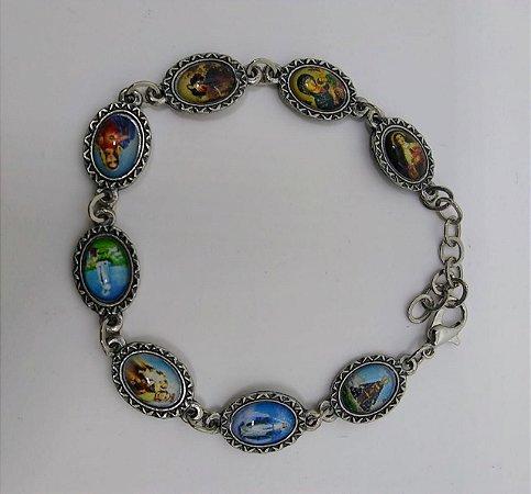 Pulseira prata velha / niquel  devoções (5682)