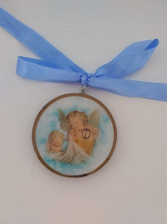 Adorno de berço Santo Anjo da Guarda - Azul (7101)