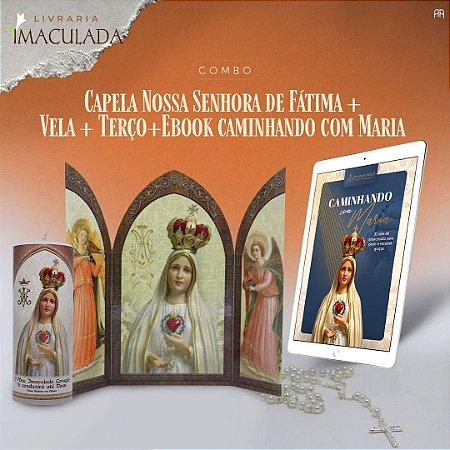 Combo Nossa Senhora de Fátima: Capela + Vela 7 dias + Terço + Ebook Caminhando com Maria