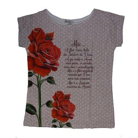 Camiseta babylook Mãe, a flor mais bela