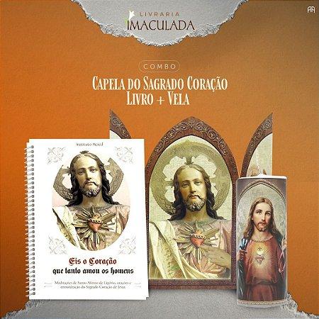 Combo Sagrado Coração de Jesus - Livro + Capela + Vela