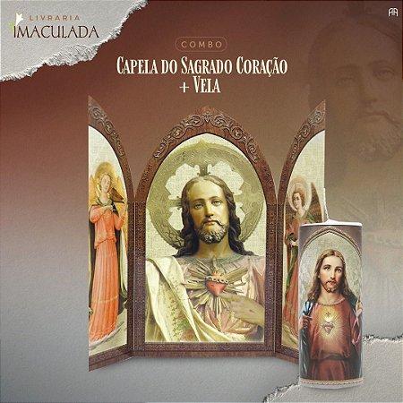 Combo Sagrado Coração de Jesus - Capela + Vela