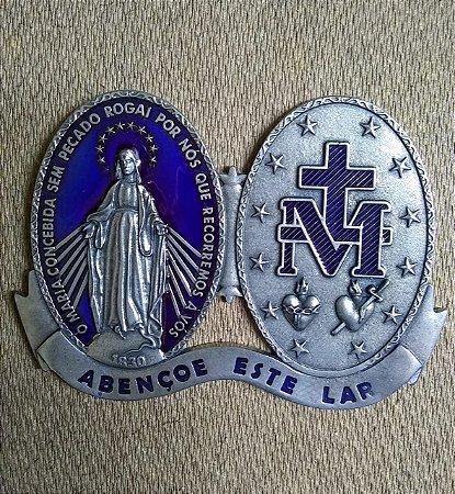 Adorno de porta em metal com adesivo - Medalha de Nossa senhora das Graças Resinada
