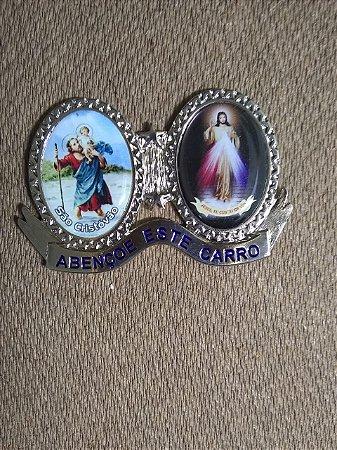 Adorno para carro em metal com adesivo - São Cristóvão e Jesus Misericordioso (5223)