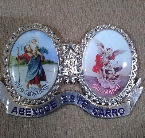 Adorno para carro em metal com adesivo - São Cristóvão e São Miguel