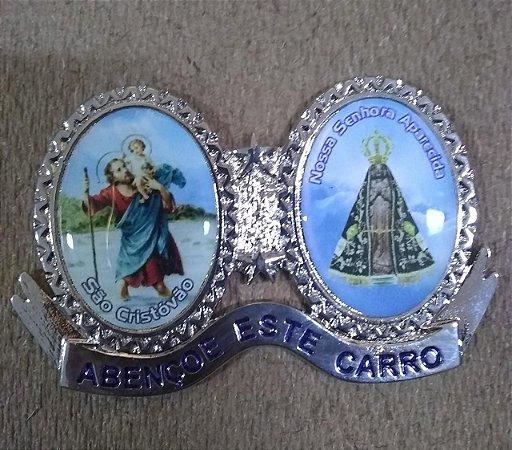 Adorno para carro em metal com adesivo - São Cristóvão e Nossa Senhora Aparecida