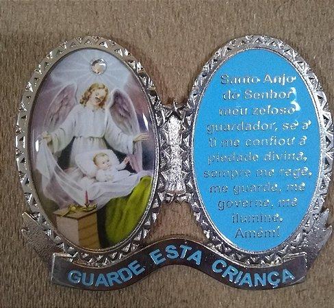 Adorno de berço em metal com adesivo - Santo Anjo da Guarda - azul (6792)