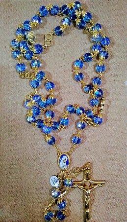 Terço importado - made in Fátima - Dourado com pedras azul