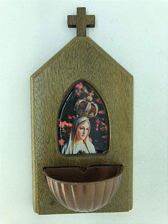 Pia para água benta madeira - Coração de Nossa Senhora de Fátima