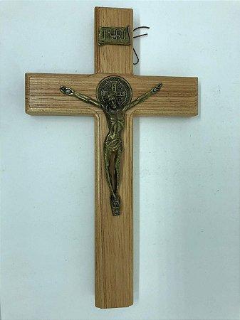 Cruz de parede madeira com Cristo em aço 26 cm (5801)