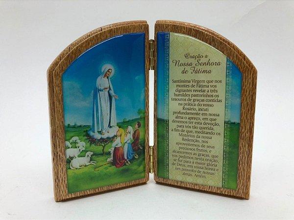 Capela de Madeira resinada 11 cm - Nossa Senhora de Fátima