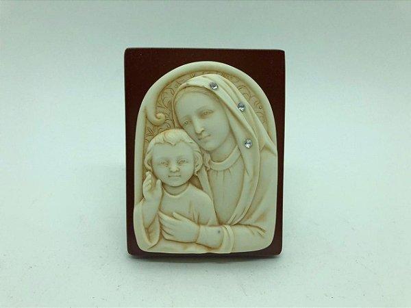 Quadro de mesa madeira com resina 10,5 cm- Nossa Senhora