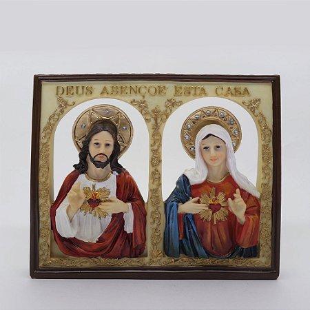 Quadro em resina Sagrado Coração de Jesus e Imaculado Coração de Maria 19,3 x 23 cm (2611)
