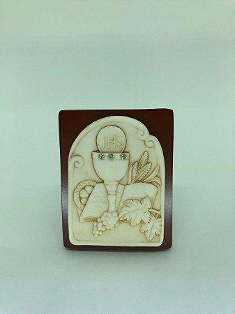 Quadro de mesa madeira com resina - Primeira Eucaristia 9,5 cm (A4492)