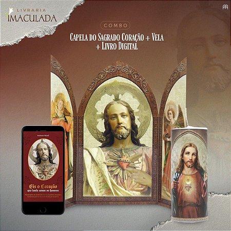 Combo Sagrado Coração de jesus: Capela + Vela 7 dias + livro digital: Eis o coração que tanto amou os homens