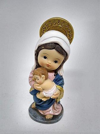 Nossa Senhora Mãe de Deus bebe resina 10 cm
