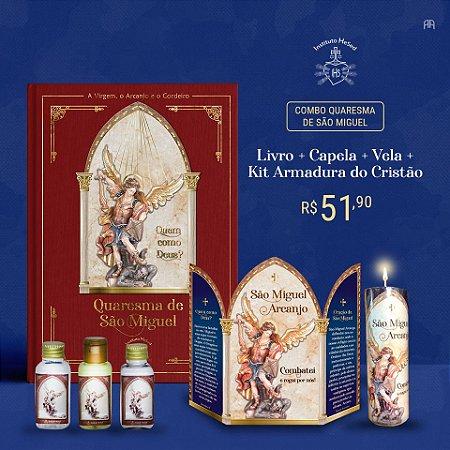 Combo 2: Livro Quaresma de São Miguel + Capela de São Miguel + Vela Votiva de São Miguel + Kit Armadura do Cristão
