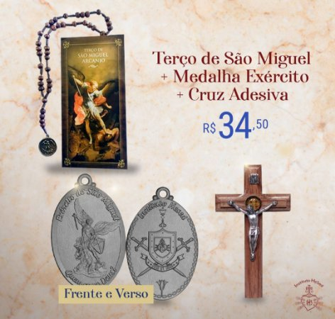 Combo 2: 01 Medalha Exército + Terço de São Miguel + Cruz Adesiva 9 cm