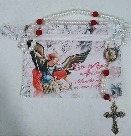 Terço com bolsa de tecido e zíper - São Miguel floral (7224)
