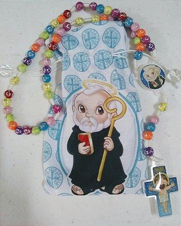 Terço Infantil São Bento Colorido com saquinho (3697)