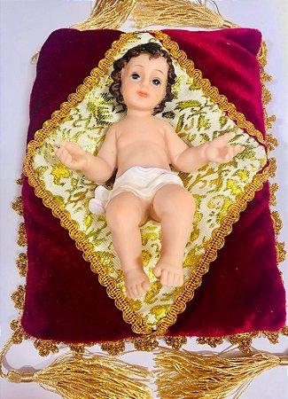 Menino Jesus de resina 15,5 cm com almofada (7880)