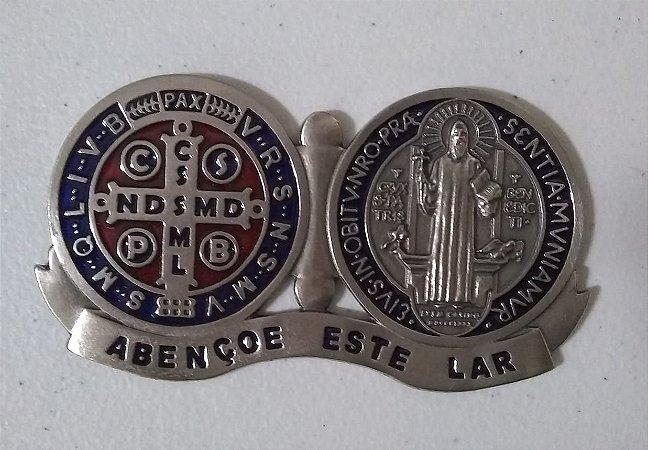 Medalhão Devocional Medalha São Bento resinada níquel (6292)