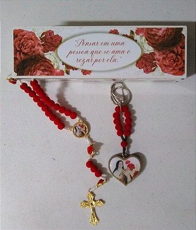 Kit Santa Teresinha - Terço com as rosas   Chaveiro  Caixa MDF (8166)
