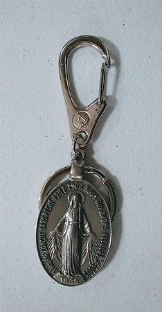 Chaveiro Nossa Senhora das Graças 43mm pingente mosquetão níquel (4591)