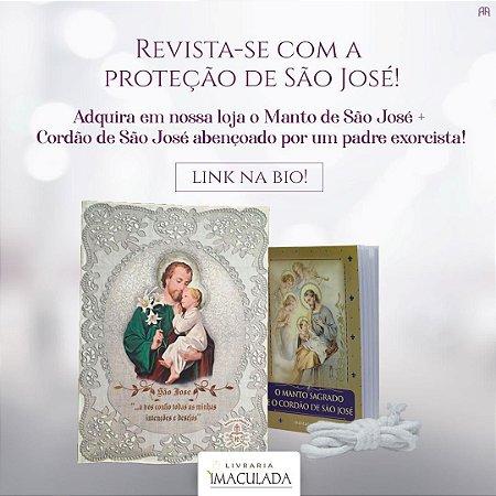 Combo: Devocionário O Manto Sagrado de São José + brinde cordão bento de São José + MANTO de São José (MÉDIO)