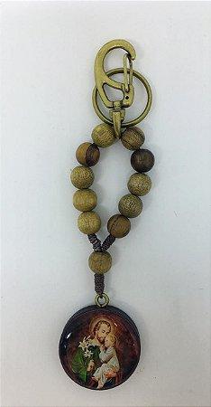 Chaveiro dezena madeira imbuia 10mm medalha madeira resinada São José (8227)
