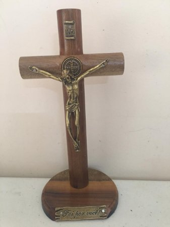 Cruz de 17 cm mesa ou parede  redonda - (7516)
