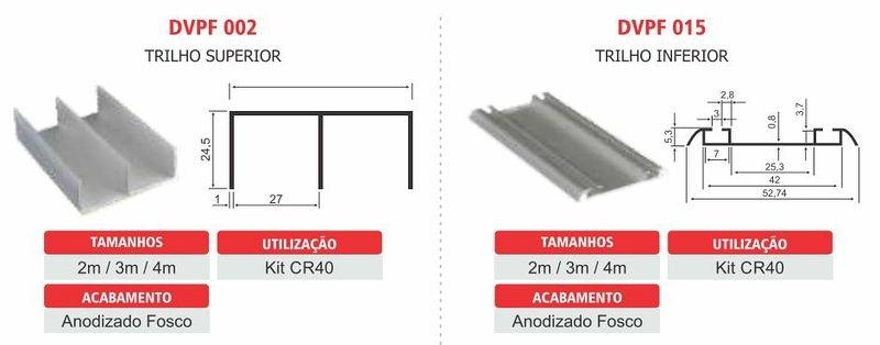 Perfil trilho superior e trilho inferior para porta de correr com mola