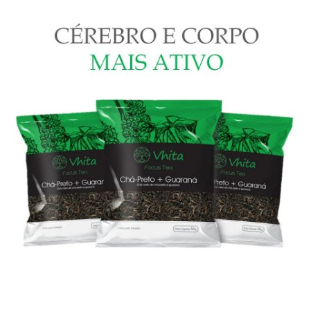 FOCUS TEA – Chá 100% natural com Chá Preto + Guaraná  (3 Sachês de 50g / VAL. MAR/2019)