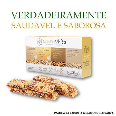 Nuts Bar Vhita  - 1x pack de barrinhas de nuts 100% naturais. (Caixa contém 1x unid. de cada sabor  / 4x barrinhas de 25g cada / VAL. MAR/2018)