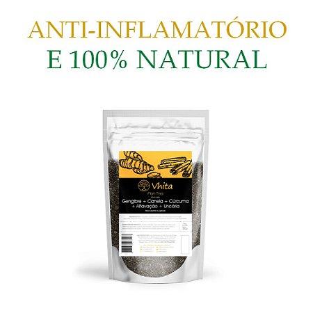 FLON TEA - Chá 100% natural com Gengibre + Canela + Cúrcuma + Alfavacão + Uncária.  (1 Sachê de 50g / Consumo para 6 dias / VAL.: MAR/2019)