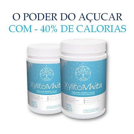 Xylitol Vhita - Adoçante natural com o mesmo poder adoçante do açúcar, com quase metade das calorias e com baixo índice glicêmico. (2x Potes de 300g / VAL. JAn/2019)