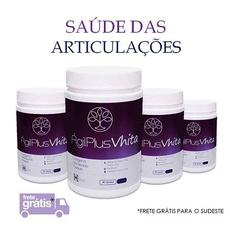 Agil Plus Vhita - Peptídeos bioativos de colágeno hidrolisado TIPO II para cartilagens e articulações (4x Potes de 300g / Consumo para 120 dias / VAL. Mai/2020)