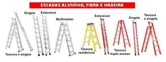 Escadas Aluminio e Fibra e Madeira