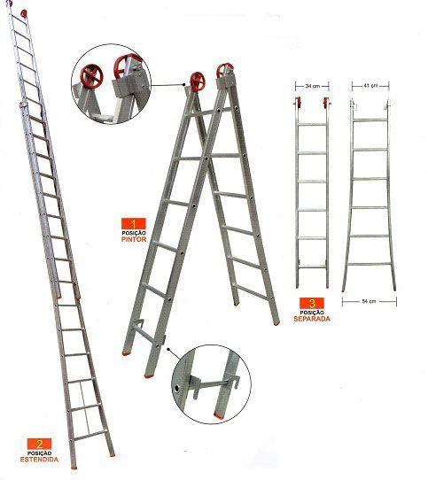Escada Extensível De Alumínio 13 Degraus  4,45 x 7,45 Prorosca