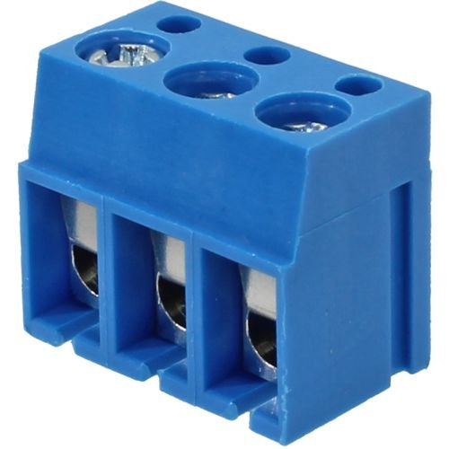 Borne KRE Metaltex 3 vias - Passo 5mm - Altura de 12,5mm - Azul