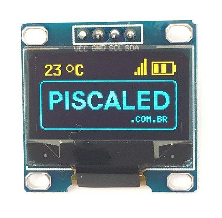 Display Oled 128x64 0.96 I2C Gráfico Azul Amarelo