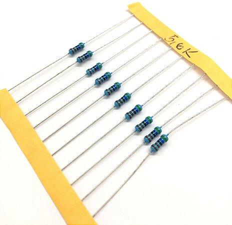 Resistor 1/4W 1% - 5,6K - 10 UNIDADES